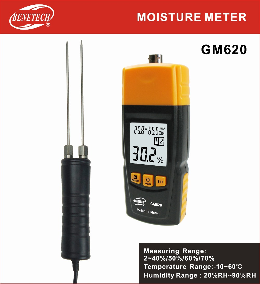 GM620 Wood Moisture Meter Adjustable for 4 tree species measuring range 2 70% portable pin type wood moisture meter mc7806