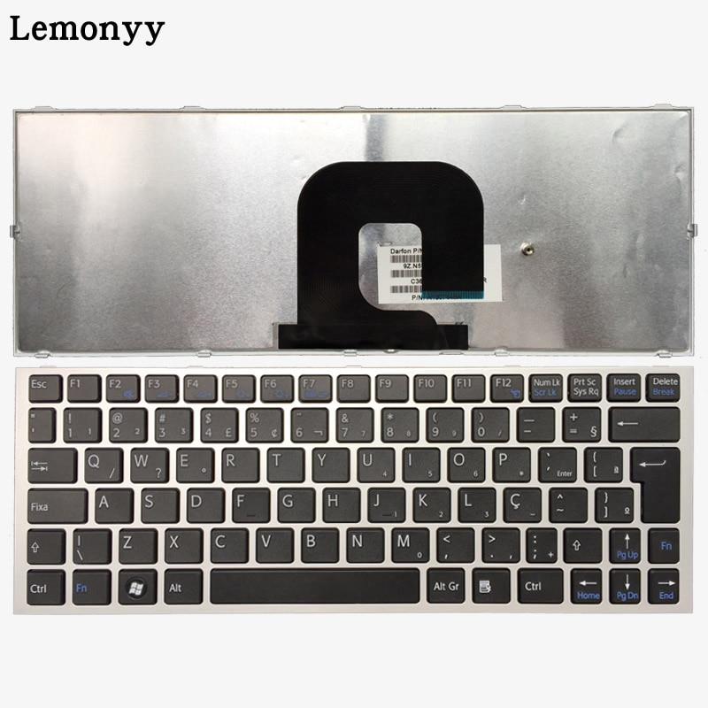 Clavier d'ordinateur portable arabe/brésilien pour SONY Vaio VPC-YA VPC-YB VPC YA YB VPCYB15JC VPCYB35JC YB15AL argent/noir avec cadre