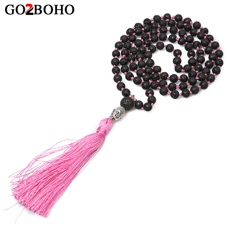 Go2boho Pink Long Volcanic Stone Necklace Women Fashion Boho Silver Color Buddha Head Beads Bijoux Handmade Weave Beaded Choker