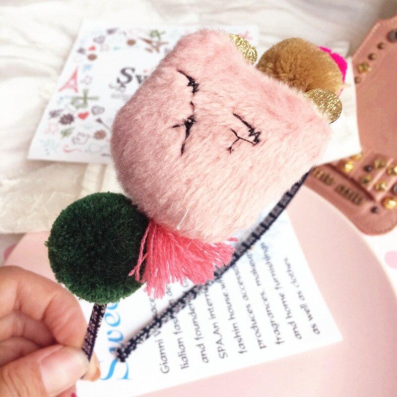 Korea Winter Hairband Hair Accessories Colorful Little Bear Wool Ball Flower Crown Headband Hair Band Hair Bow Princess 45