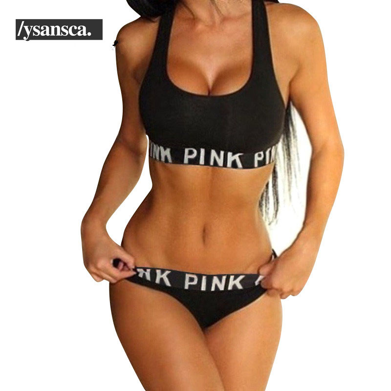 2017 Women Fitness Workout Seamless Sexy Underwear Women Bra Set Patchwork Sexy Vs Pink Lingerie Unlined Sportswear Sets