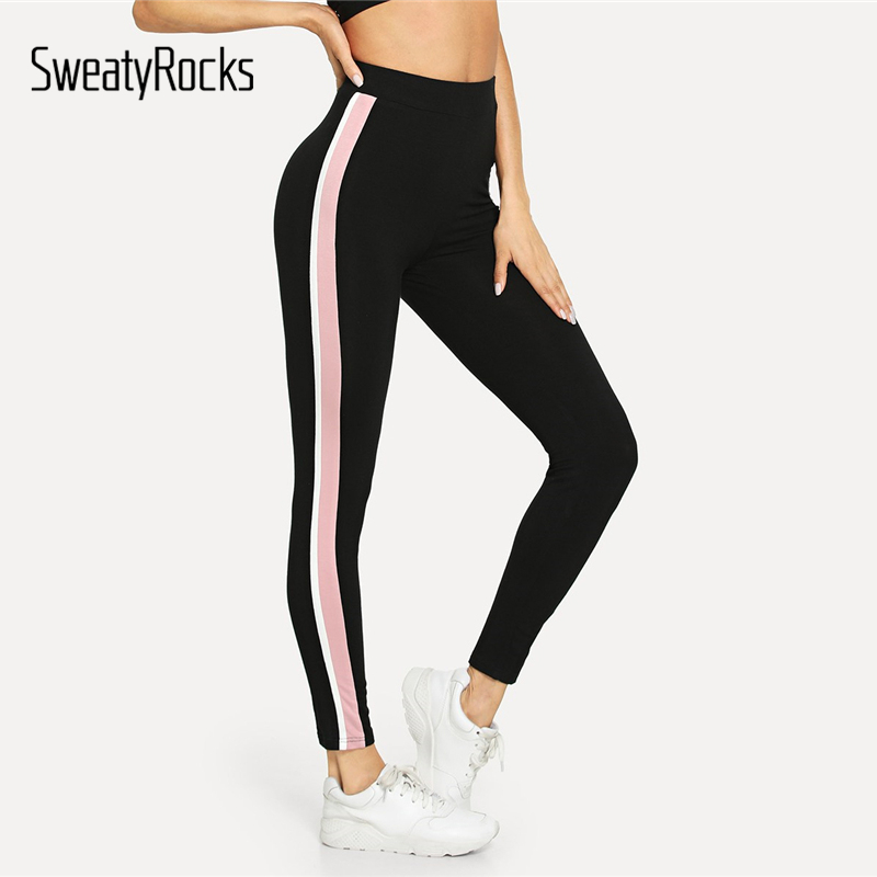 SweatyRocks   Leggings   Women Pants Stripe Side Workout   Leggings   2018 Autumn Fitness   Legging   Womens Clothing Sporting Trousers