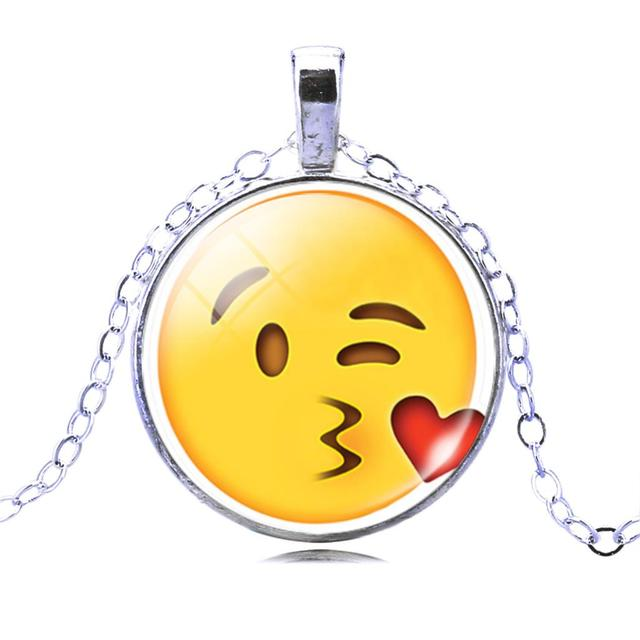 Women 13 Style Silver Plated with Glass Cabochon Cute Emoji Pattern Choker Long Pendant Necklace Ideal Gift
