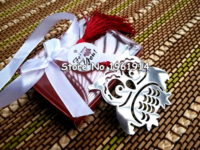 Owl monolithic 50pcs metal bookmark with tassel for Back To School student's favors Exquisite