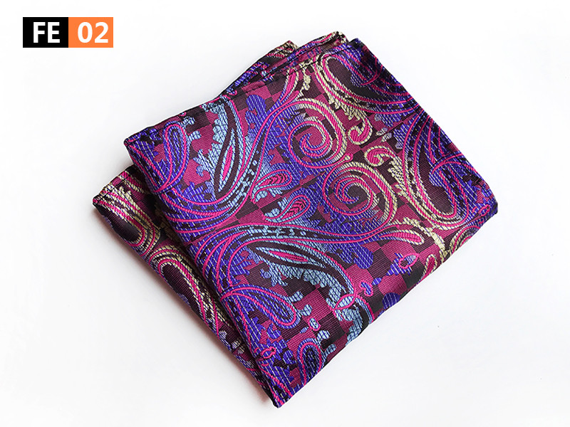 25x25cm Big Size Men Pocket Square Designer Paisley Floral Handkerchief