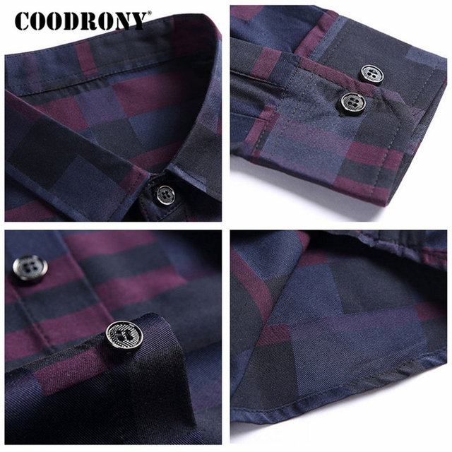 Mens Business Casual Shirts New Arrival Famous Brand Clothing Plaid 4