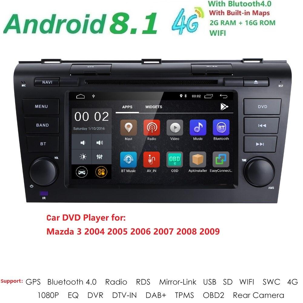 2DIN 1024*600 QuadCore Android8.1 Fit MAZDA3 2004-2009 Moniteur De Voiture Lecteur DVD de Navigation GPS Radio canbus de Direction roue DVR Carte