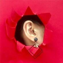 Anting Tusuk Drop Gaya Korea Desain Bentuk Geometri Bahan Alloy untuk Wanita