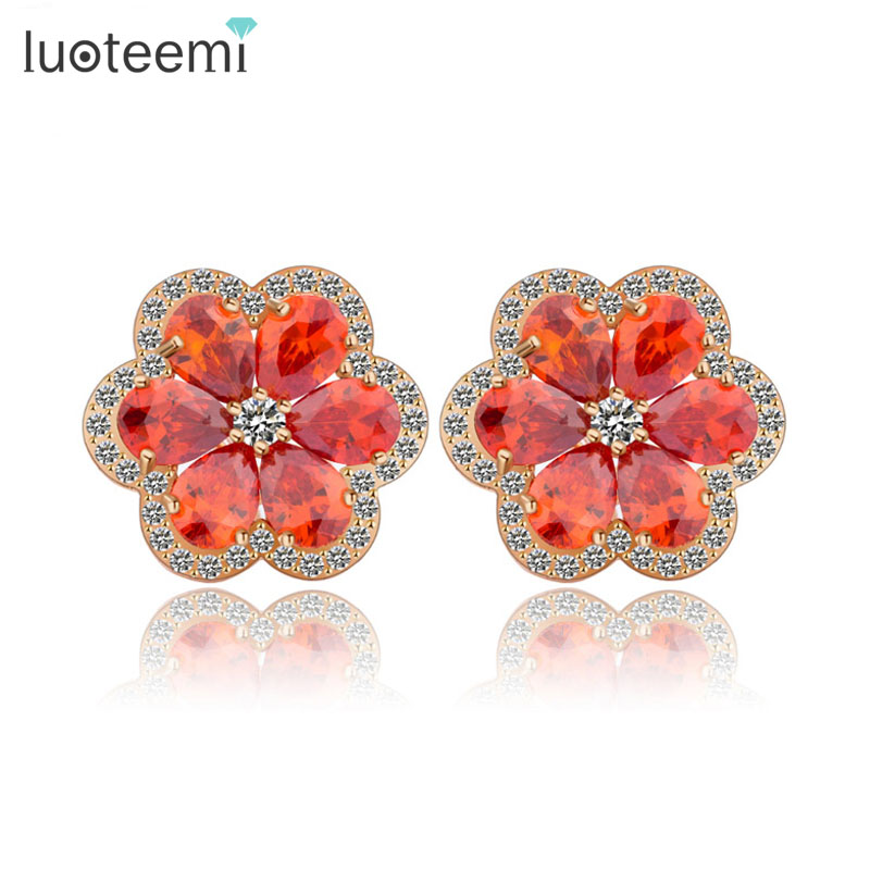 LUOTEEMI Wholesale Outstanding New Fashion Garnet Cubic Zircon Prong Setting Cheap Flower Shaped font b Earrings