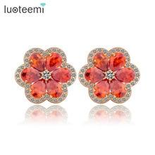 LUOTEEMI Wholesale Outstanding New Fashion Garnet Cubic Zircon Prong Setting Cheap Flower Shaped Earrings Woman