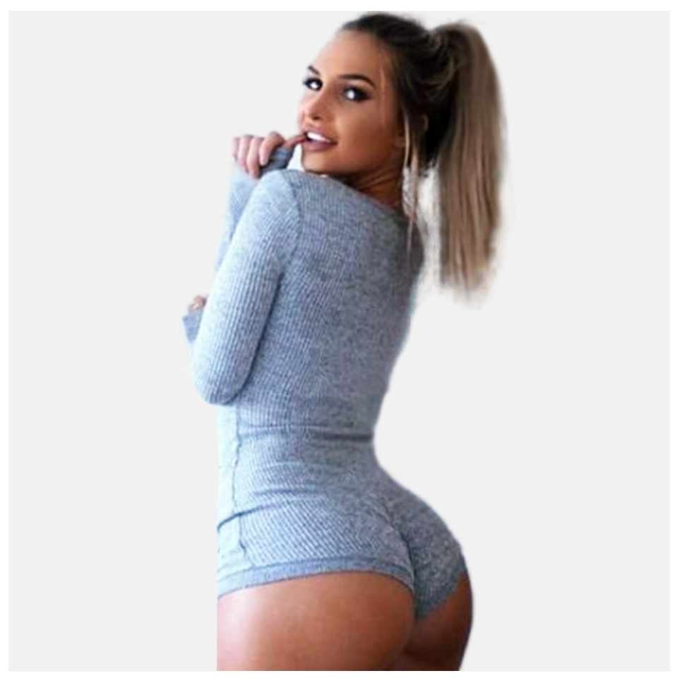 Rib Knit Bodysuit Sexy Deep V Neck Thong Bodysuit Long Sleeve Combishort 2020 Women Ribbed Button Warm Jumpsuit Push Up Bodysuit