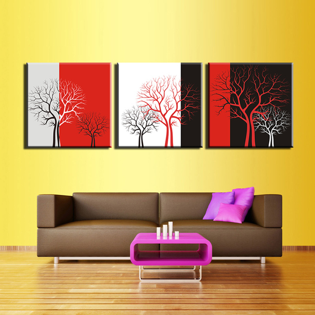 2017 Promotion Real Fallout Painting 3pcs Tree Wall Painting Print ...