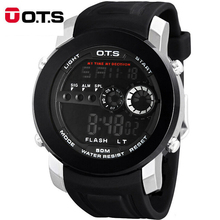 Top sport men watch brand OTS 10M Professional Waterproof Luminous LED Military Watches men digital date large wristwatches 2016