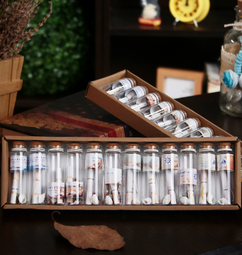 12 Home Decor Gift Ideas From Walmart: 12pc/box Drift Bottle Shells Gift Small Wood Cork Box