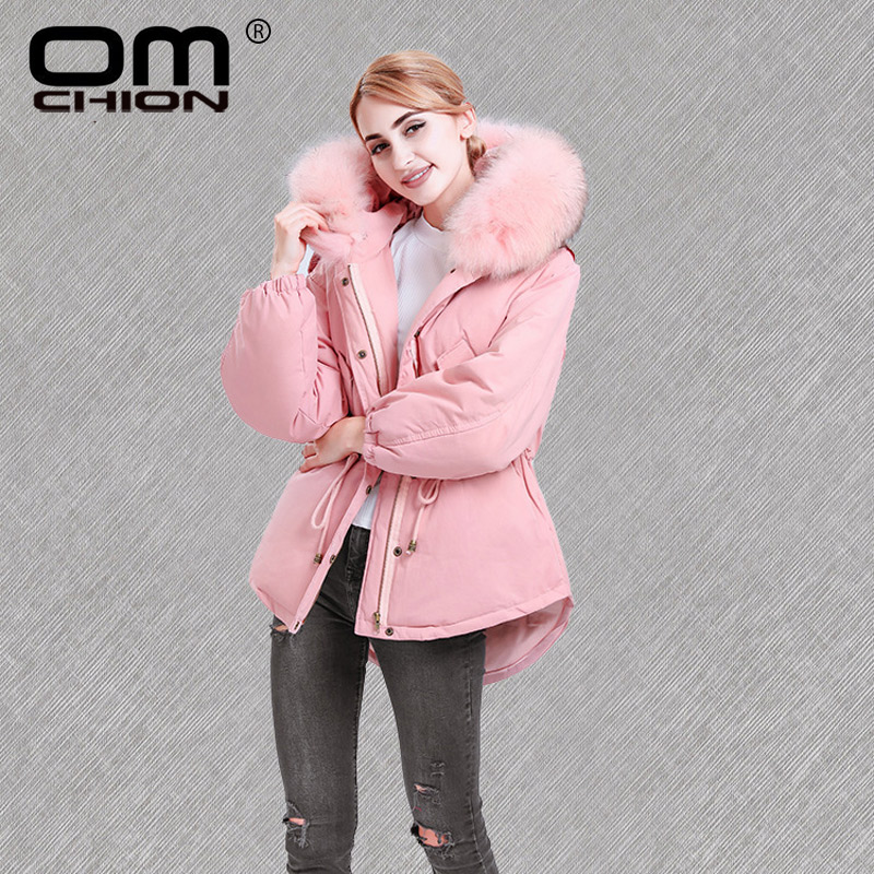 OMCHION Casacas Para Mujer 2018 Brand Large Real Fur Winter Jacket Women Casual Loose Duck   Down     Coat   Thicken Outwear Parka QY13
