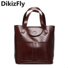 DikizFly New Fashion women large capacity women bags Casual Solid Big Handbag Bucket Shoulder bag Split Leather Top-handle bags