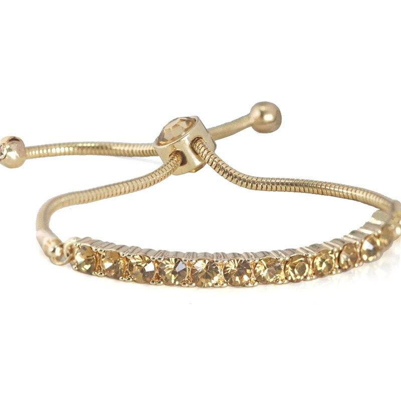 Adjustable Tennis Bracelets For Women Gold Color Sparkling ...