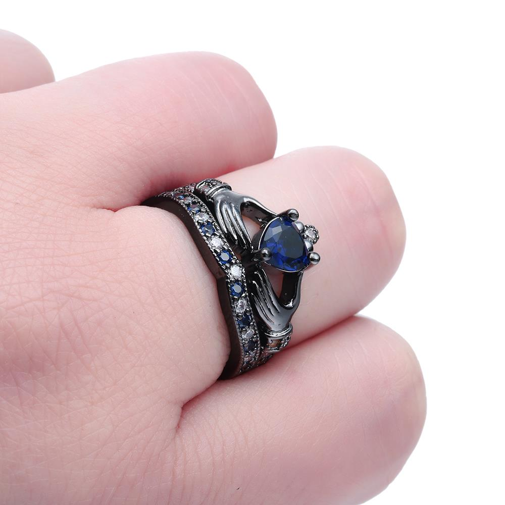 new women romantic wedding ring set in zirconia Blue zircon black ...