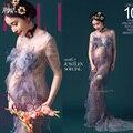 2016 mulheres de maternidade vestido adereços fotografia lace dress fantasia elegante estúdio sessão de fotos da gravidez roupas sweet chiffon grande