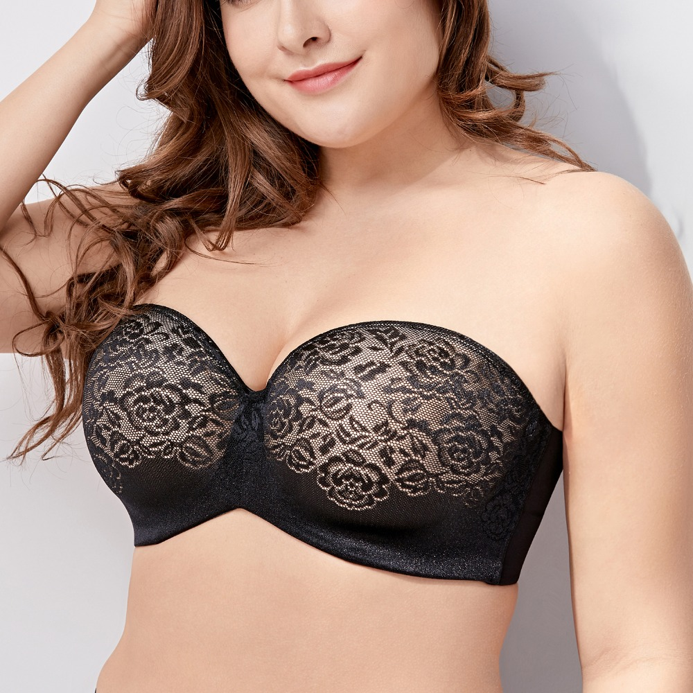 Women's Underwire Padded Lift Seamless Lace Multiway Strapless Bra Plus Size D E F G