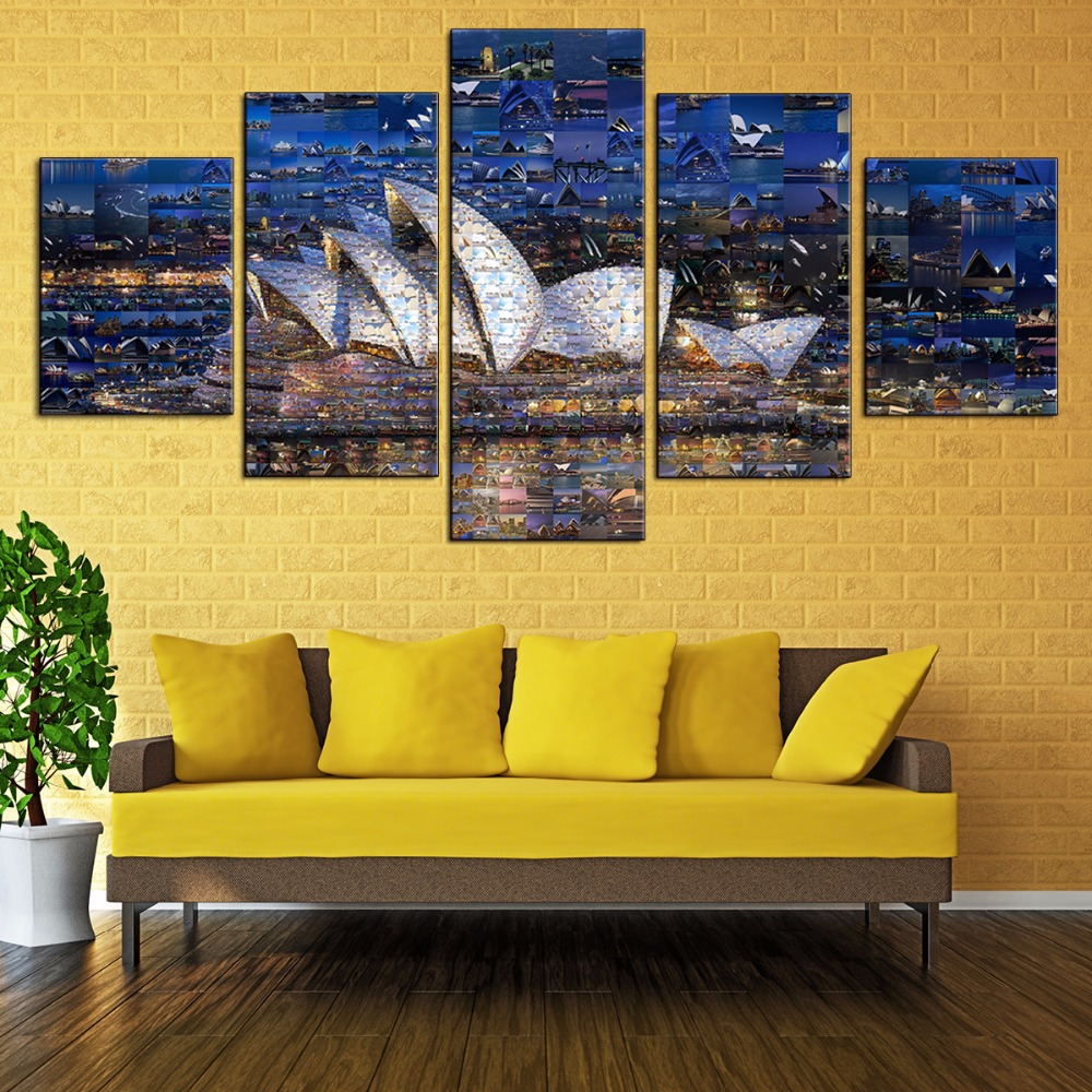 Unframed Sydney Opera Makes Up A Small Picture 5 Piece Walling Art ...