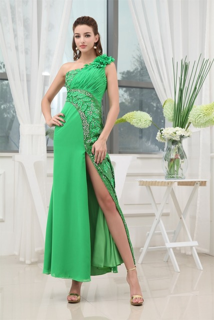 a7b8b9ae14 Sleeveless One-Shoulder Flowers Baeding Sequined Pleat asymmetrical Chiffon  Best Bridesmaid dresses for special occasions.