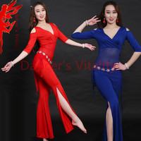 Women Belly Dance Clothes Milk Silk Belly Dance Suit 3pcs Top Waist Scarf Trousers Girls Dance
