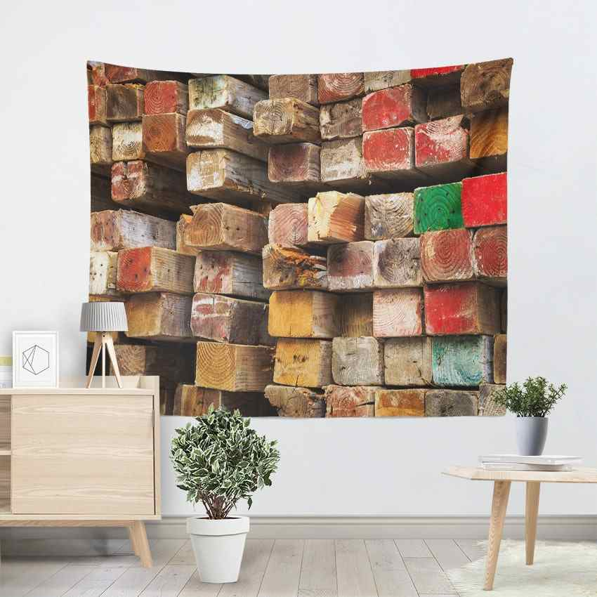 Square Wood Art Wall Decoration Tapestry Bohemian Colored Ombre Carpets Hanging Tapestries Living Room