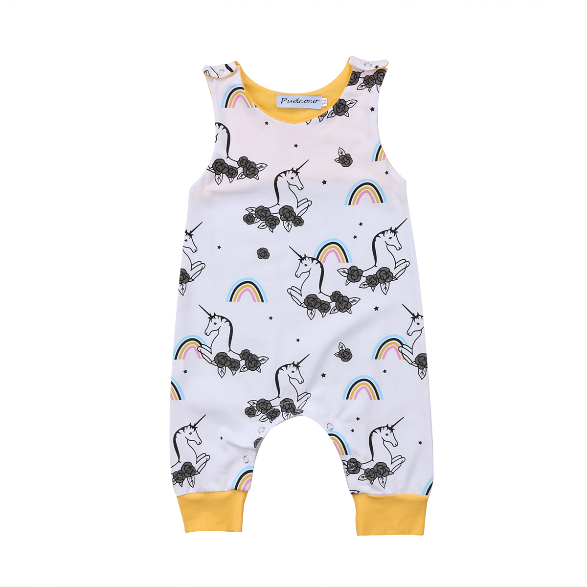 Pudcoco Infant Baby Boys Girls Unicorn Romper Cotton Outfits Floral Jumpsuit Clothes pudcoco newborn infant baby girls clothes short sleeve floral romper headband summer cute cotton one piece clothes