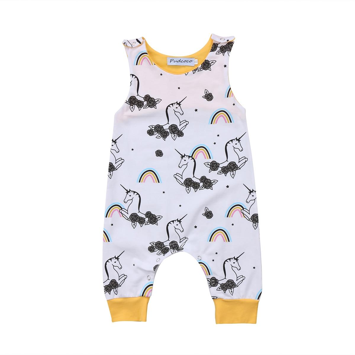 Pudcoco Infant Baby Boys Girls Unicorn Romper Cotton Outfits Floral Jumpsuit Clothes