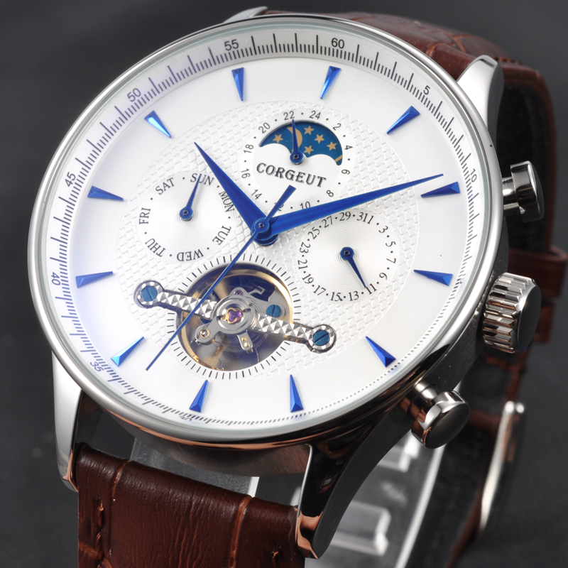 New arrival Corgeut 44mm Domed Glass Moon Phase White Dial Blue Hands Date & Day Mens Automatic watch