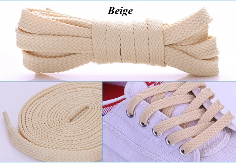 1Pair Double Flat Laces High Quality Polyester Shoelaces Fashion Sports Casual Shoe Lace Solid Flat Shoelace 28Colors in Shoelaces from Shoes