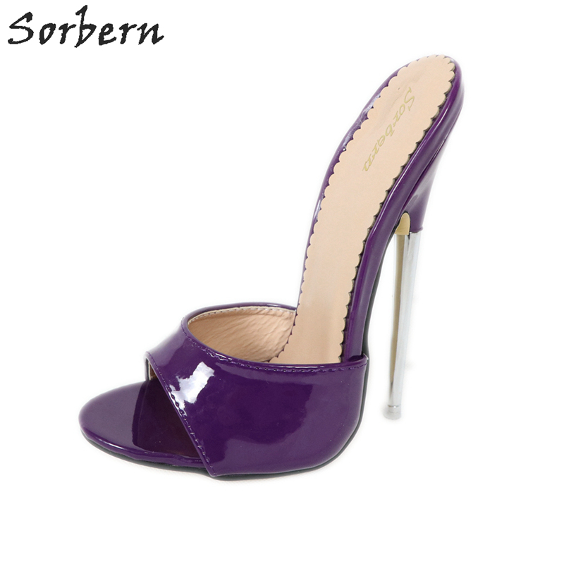 Sorbern Purple Patent <font><b>Slipper</b></font> <font><b>Women</b></font> Open Toe Metal <font><b>High</b></font> <font><b>Heel</b></font> 18Cm Summer Slip On <font><b>Shoe</b></font> Outdoor Slides Ladies <font><b>Sex</b></font> Bedroom Footwear image