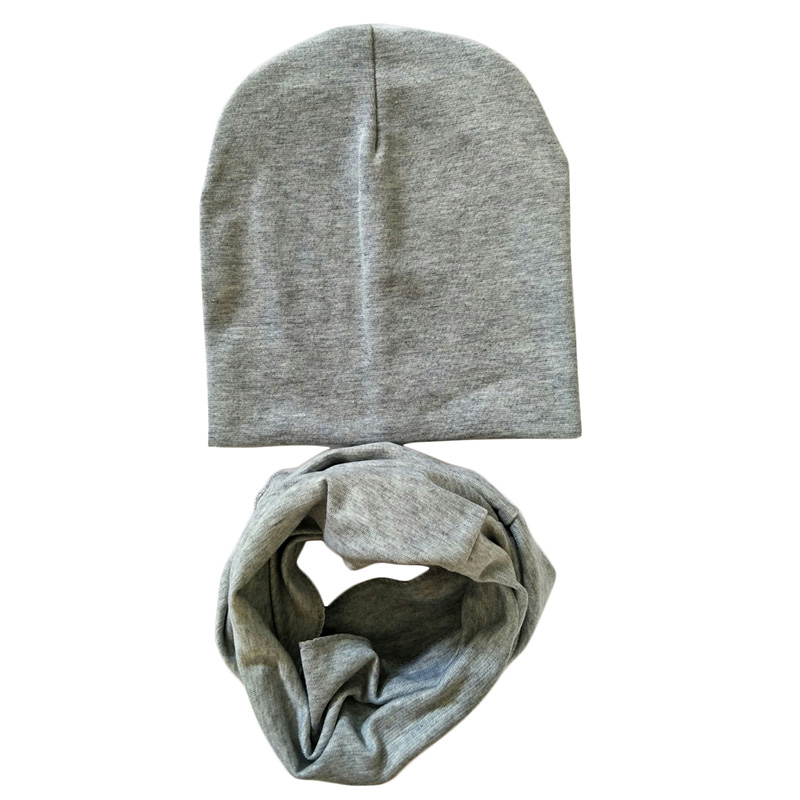 Cotton Baby Hat Scarf bonnet enfant Girls Boys Knit Beanie Soild Color Toddler Kids Caps Scarves Winter Spring