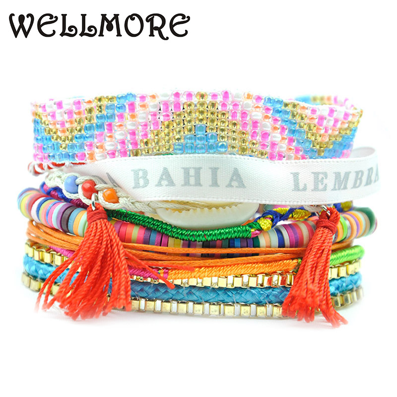beads Bracelet Shell tassel charm bracelets Handmade multilayer combination bracelets for women bracelet have S/M/L size B1516b