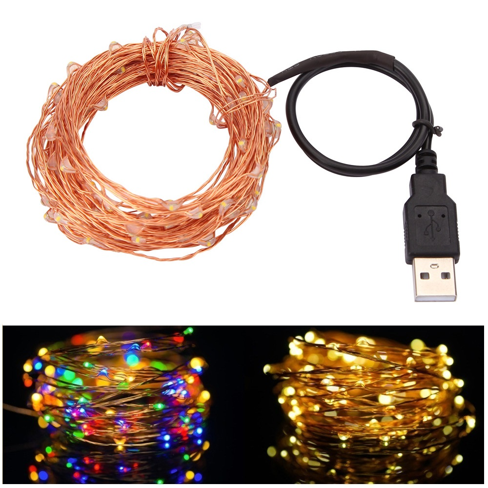 10m 33ft 100 led usb outdoor led copper wire string lights. Black Bedroom Furniture Sets. Home Design Ideas