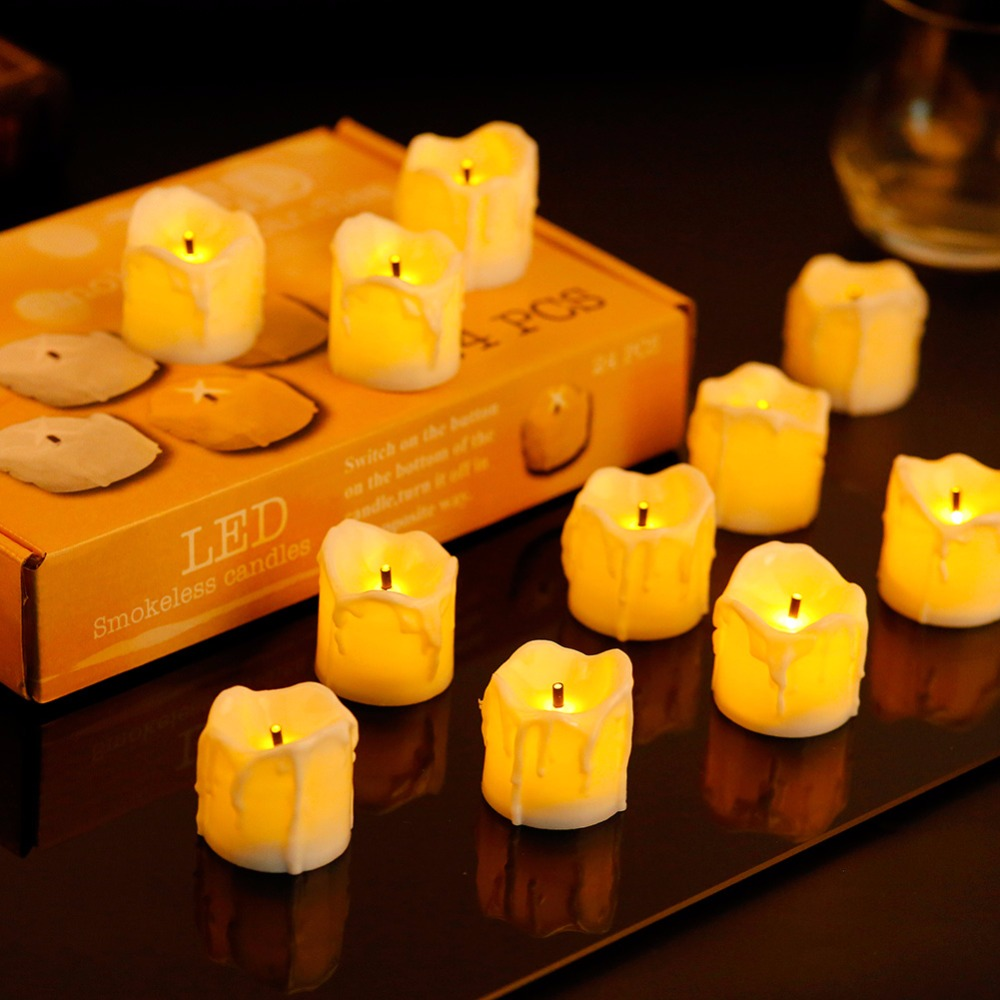 24pcs Flameless Yellow Flicker Tear Wax Drop Candle Mini Battery Operated Light Candle