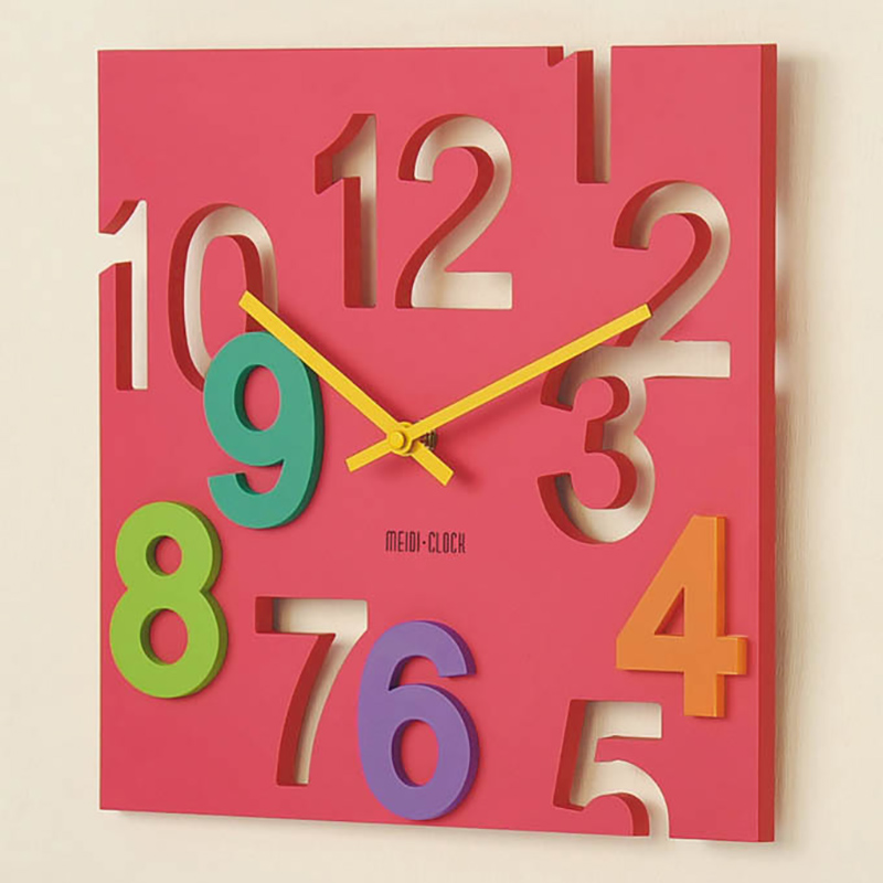 Creative fashion living room wall clock hollow mute plastic digital clock simple square wall clock wall clock children bedroom