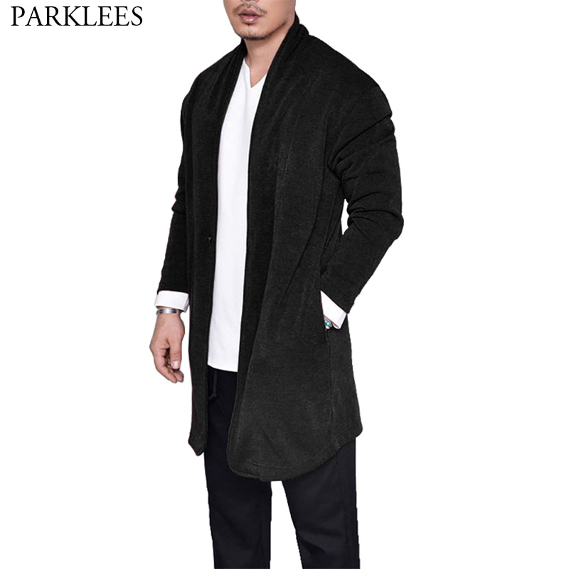Cool Black Sweater Cardigan Men Pull Homme 2018 Winter New Extra Long Mens Knitting Sweaters Casual Pocket Drape Cape Overcoat
