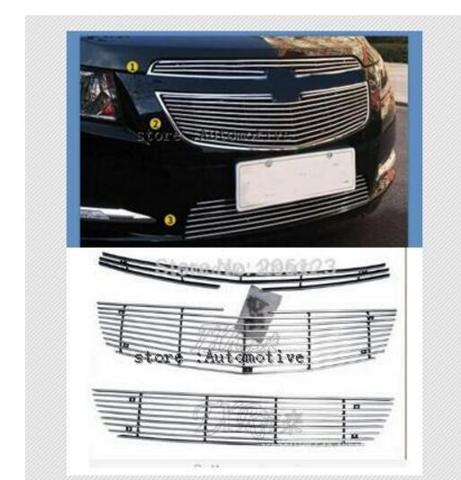 For 2009 2013 for Chevrolet Cruze modified metal grid overlay front racing grills trim 3pcs