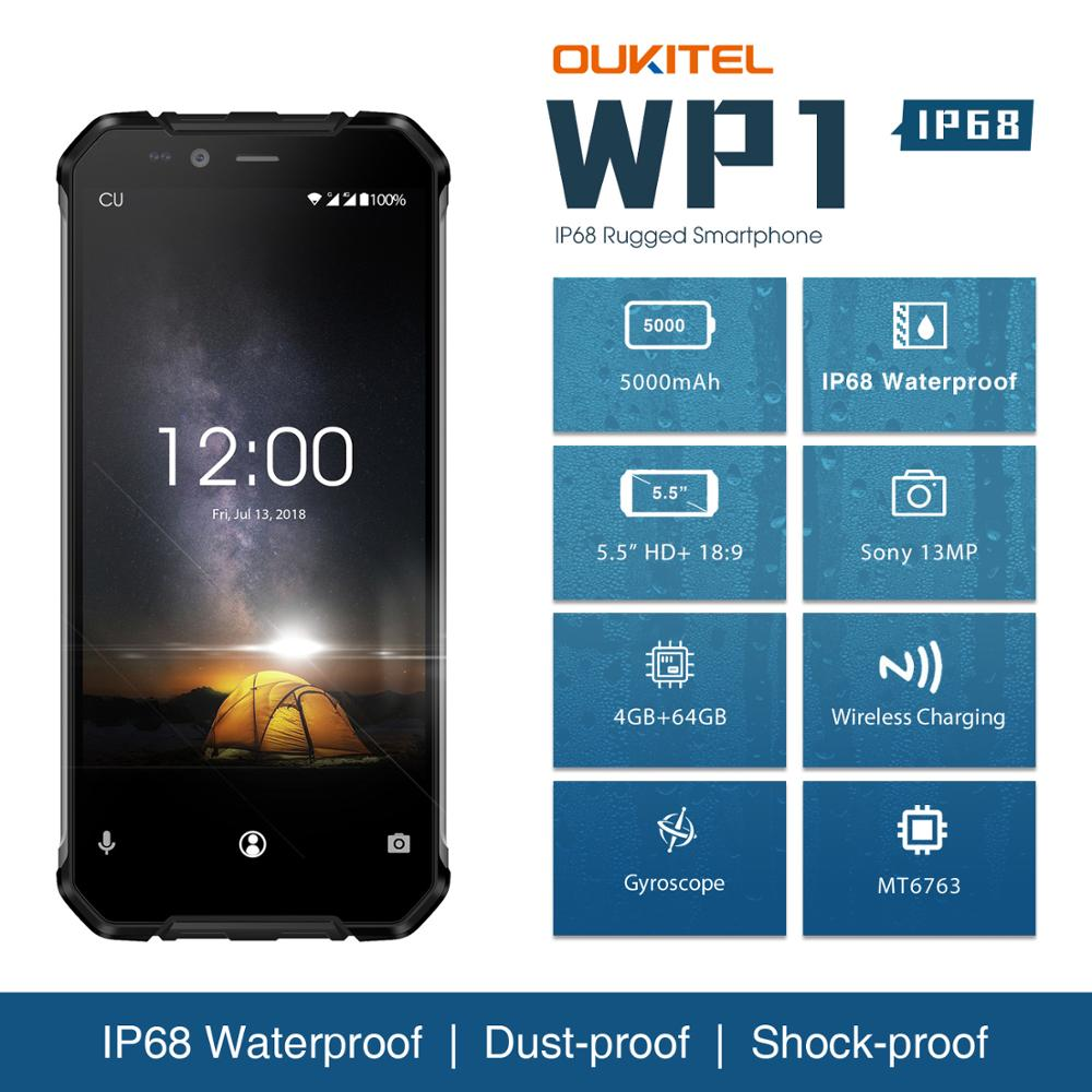 OUKITEL WP1 IP68 Smartphone Android 8.1 5.5 ''Celular Robusto À Prova D' Água Telefone Octa Núcleo 4GB GB MTK6763 64 5000mAh de Carregamento Sem Fio