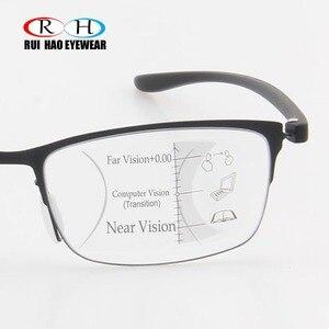 Image 4 - Fashion Progressive Glasses Anti Blue Ray Multifocal Reading Eyeglasses Presbyopic Spectacles Unisex Design Glasses Frame