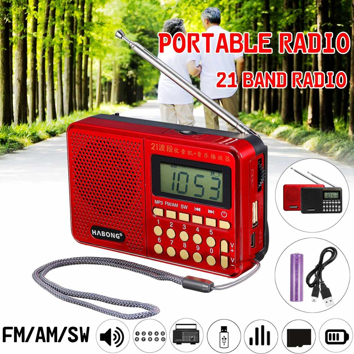 Portable <font><b>Radio</b></font> FM/AM/SW <font><b>21</b></font> <font><b>Bands</b></font> Digital Key Selection Mini Telescopic Antenna Pockets MP3 TF USB Receiver Speaker Outdoor image