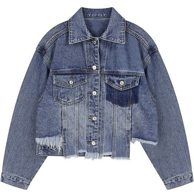 c8662587732 Women Denim Jacket 2017 Fashion Raw Cut Destroyed Crop Outerwear Casual  Distress Vintage Ripped Cut Off Cropped Blue Jean Top