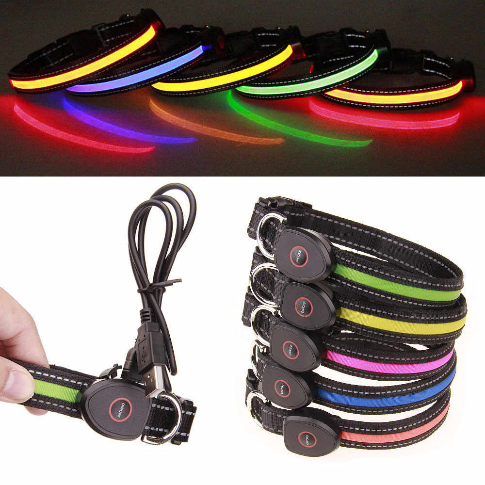 dog collar light USB LED Light waterproof night safety Adjustable Chargeable Dog Collar Flashing Glow Pet Collar leashes harness