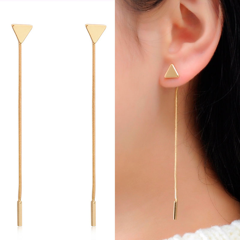 Triangular Heart Stud Earrings Metal 2019 Fashion Modern Long Chain Earing For Women Ear Jewelry bijoux femme Wholesale WD327 in Stud Earrings from Jewelry Accessories