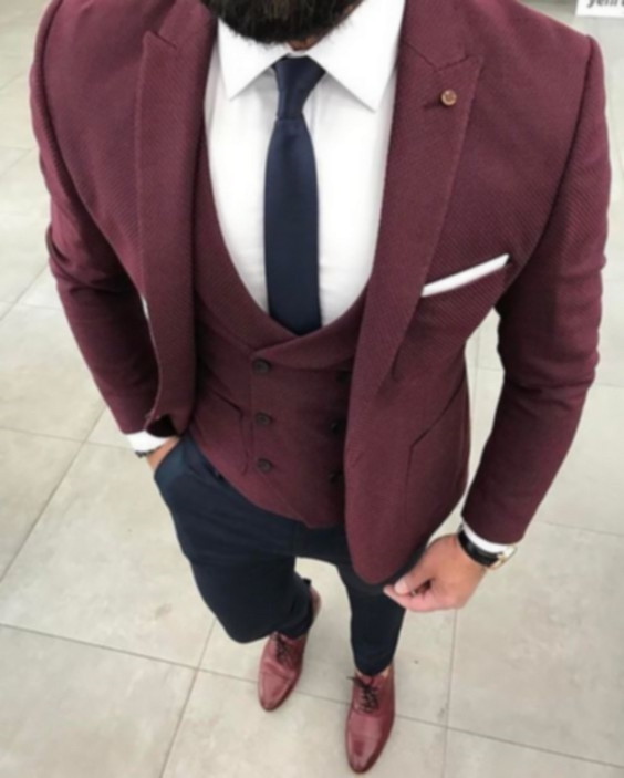 2017 Latest Coat Pant Designs Burgundy Men Suit Slim Fit 3