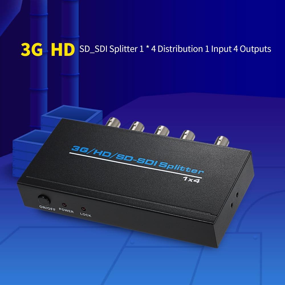 3G/HD/SD_SDI Splitter 1 * 4 Distribution 1 Input 4 Outputs Supports HD-SDI SD-SDI and 3G-SDI hightek hk s1t4 4 ports sdi splitter 1x4 hd sdi 3g sdi sd sdi distribution splitter