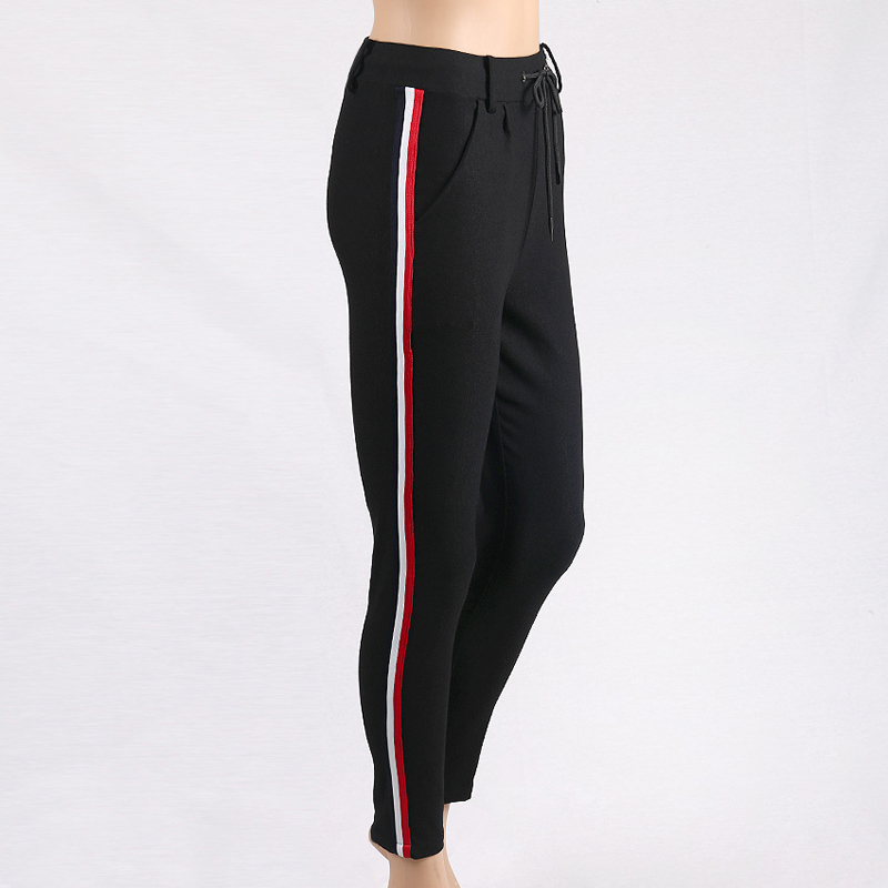 HTB13mb0jPoIL1JjSZFyq6zFBpXao - FREE SHIPPING High Waist Knit Red Striped Sideseam Sweatpants JKP257