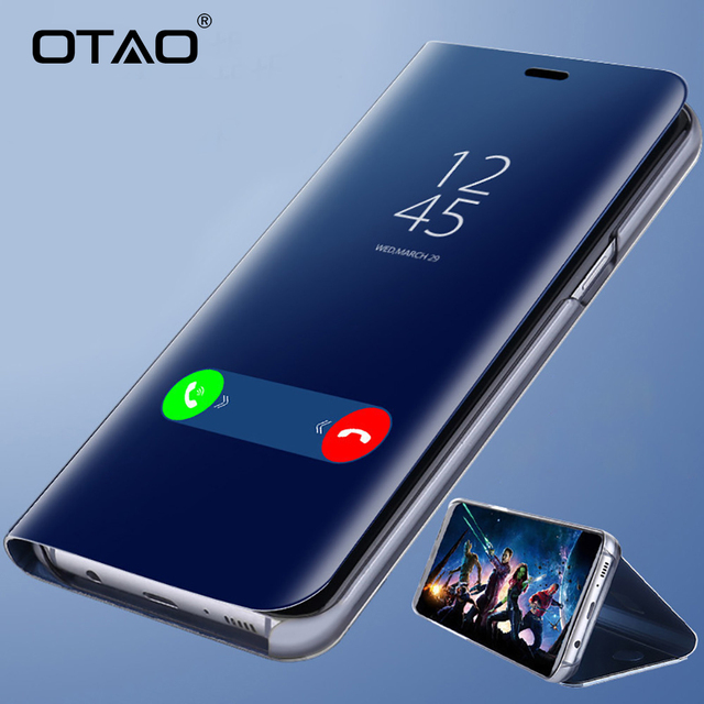 OTAO Clear View Smart Mirror Phone Case For iphone X 8 7 6 6s Plus Cases Fashion Flip Stand Leather Cover For iphone 10 9 Coque